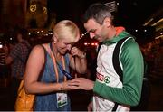 10 August 2018; Thomas Barr of Ireland and his coach Hayley Harrison with his bronze medal after finishing third in the Men's 400m hurdles Final during Day 4 of the 2018 European Athletics Championships in Berlin, Germany. Photo by Sam Barnes/Sportsfile