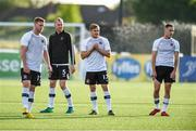 10 August 2018; Dundalk players, from left, Sam Byrne, Chris Shields, Georgie Poynton and Dylan Connolly of Dundalk warm-up prior to the Irish Daily Mail FAI Cup First Round match between Dundalk and Cobh Ramblers at Oriel Park, in Dundalk. Photo by Ben McShane/Sportsfile