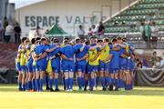 10 August 2018; Leinster players huddle prior to the Pre-Season Friendly match between Montauban and Leinster at Stade Sapiac, in Montauban, France. Photo by Manuel Blondeau/Sportsfile