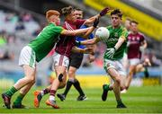 11 August 2018; Daniel Cox of Galway in action against James O'Hare, left, and Conor Farrelly of Meath during the Electric Ireland GAA Football All-Ireland Minor Championship semi-final match between Galway and Meath at Croke Park in Dublin. Photo by Piaras Ó Mídheach/Sportsfile