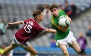 11 August 2018; Conor Farrelly of Meath in action against Matthew Cooley of Galway during the Electric Ireland GAA Football All-Ireland Minor Championship semi-final match between Galway and Meath at Croke Park in Dublin. Photo by Ray McManus/Sportsfile