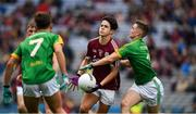 11 August 2018; Eoghan Tinney of Galway is tackled by Cathal Hickey of Meath during the Electric Ireland GAA Football All-Ireland Minor Championship semi-final match between Galway and Meath at Croke Park in Dublin. Photo by Ray McManus/Sportsfile