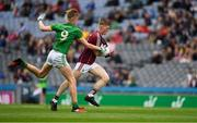 11 August 2018; Conor Raftery of Galway is tackled by Cian McBride of Meath during the Electric Ireland GAA Football All-Ireland Minor Championship semi-final match between Galway and Meath at Croke Park in Dublin. Photo by Ray McManus/Sportsfile