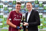 11 August 2018; Bill Boucher, Electric Ireland Manager at the Electric Ireland GAA Minor Championships, presents Aidan Halloran of Galway with the Player of the Match award for his major performance in the Electric Ireland GAA Minor Football Championship Semi-Final. Throughout the Championships, fans can follow the conversation, vote for their player of the week, support the Minors and be a part of something major through the hashtag #GAAThisIsMajor . Photo by Brendan Moran/Sportsfile