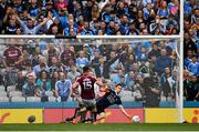 11 August 2018; Eamonn Brannigan of Galway has his penalty saved by Stephen Cluxton of Dublin during the GAA Football All-Ireland Senior Championship semi-final match between Dublin and Galway at Croke Park in Dublin. Photo by Seb Daly/Sportsfile