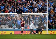 11 August 2018; Eamonn Brannigan of Galway reacts after seeing his penalty saved by Stephen Cluxton of Dublin during the GAA Football All-Ireland Senior Championship semi-final match between Dublin and Galway at Croke Park in Dublin. Photo by Seb Daly/Sportsfile