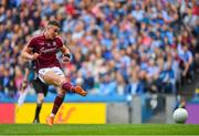 11 August 2018; Eamonn Brannigan of Galway takes a penalty which is saved by Dublin goalkeeper Stephen Cluxton during the GAA Football All-Ireland Senior Championship semi-final match between Dublin and Galway at Croke Park in Dublin. Photo by Brendan Moran/Sportsfile