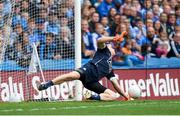 11 August 2018; Dublin goalkeeper Stephen Cluxton saves a first half penalty from Eamonn Brannigan of Galway during the GAA Football All-Ireland Senior Championship semi-final match between Dublin and Galway at Croke Park in Dublin.  Photo by Piaras Ó Mídheach/Sportsfile