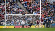 11 August 2018; Dublin goalkeeper Stephen Cluxton dives to his left to save a 12th minute penalty from Damien Comer of Galway during the GAA Football All-Ireland Senior Championship semi-final match between Dublin and Galway at Croke Park in Dublin. Photo by Ray McManus/Sportsfile