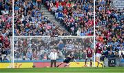 11 August 2018; Dublin goalkeeper Stephen Cluxton dives to his left to save a 12th minute penalty from Eamonn Brannigan of Galway during the GAA Football All-Ireland Senior Championship semi-final match between Dublin and Galway at Croke Park in Dublin.  Photo by Ray McManus/Sportsfile