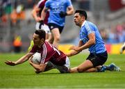11 August 2018; Ian Burke of Galway in action against Cian O'Sullivan of Dublin during the GAA Football All-Ireland Senior Championship semi-final match between Dublin and Galway at Croke Park in Dublin. Photo by Brendan Moran/Sportsfile