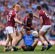 11 August 2018; Galway players, from left, Declan Kyne, Eoghan Kerin and Gareth Bradshaw wrestle the ball from the possession of James McCarthy of Dublin during the GAA Football All-Ireland Senior Championship semi-final match between Dublin and Galway at Croke Park in Dublin. Photo by Stephen McCarthy/Sportsfile