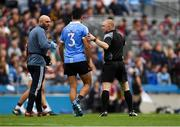 11 August 2018; Cian O'Sullivan of Dublin leaves the field in the first half after picking up an injury during the GAA Football All-Ireland Senior Championship semi-final match between Dublin and Galway at Croke Park in Dublin.  Photo by Piaras Ó Mídheach/Sportsfile
