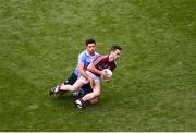 11 August 2018; Ian Burke of Galway in action against Cian O'Sullivan of Dublin during the GAA Football All-Ireland Senior Championship semi-final match between Dublin and Galway at Croke Park in Dublin. Photo by Daire Brennan/Sportsfile