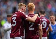 11 August 2018; Seán Andy Ó Ceallaigh, left, and Declan Kyne of Galway following their side' defeat during the GAA Football All-Ireland Senior Championship semi-final match between Dublin and Galway at Croke Park in Dublin.  Photo by Seb Daly/Sportsfile