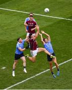 11 August 2018; Damien Comer of Galway in action against Philip McMahon, left, and Michael Fitzsimons of Dublin during the GAA Football All-Ireland Senior Championship semi-final match between Dublin and Galway at Croke Park in Dublin. Photo by Daire Brennan/Sportsfile