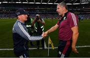 11 August 2018; Dublin manager Jim Gavin and Galway manager Kevin Walsh following the GAA Football All-Ireland Senior Championship semi-final match between Dublin and Galway at Croke Park in Dublin. Photo by Stephen McCarthy/Sportsfile