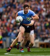 11 August 2018; Michael Darragh Macauley of Dublin is tackled by Adrian Varley of Galway during the GAA Football All-Ireland Senior Championship semi-final match between Dublin and Galway at Croke Park in Dublin.  Photo by Ray McManus/Sportsfile