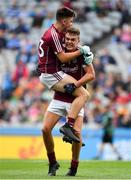11 August 2018; Tomo Culhane, left, and Aidan Halloran of Galway celebrate after the Electric Ireland GAA Football All-Ireland Minor Championship semi-final match between Galway and Meath at Croke Park in Dublin. Photo by Brendan Moran/Sportsfile