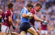 11 August 2018; Kevin McManamon of Dublin in action against Gareth Bradshaw of Galway during the GAA Football All-Ireland Senior Championship semi-final match between Dublin and Galway at Croke Park in Dublin.  Photo by Brendan Moran/Sportsfile