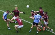 11 August 2018; Cormac Costello of Dublin scores a point despite the efforts of Galway players, left to right, Declan Kyne, Seán Andy Ó Ceallaigh, Thomas Flynn, Gareth Bradshaw, and Eoghan Kerin during the GAA Football All-Ireland Senior Championship semi-final match between Dublin and Galway at Croke Park in Dublin. Photo by Daire Brennan/Sportsfile