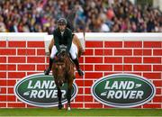 11 August 2018; Paul Kennedy of Ireland competing on Luikan Q during the Land Rover Puissance during the StenaLine Dublin Horse Show at the RDS Arena in Dublin. Photo by Harry Murphy/Sportsfile