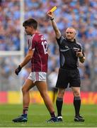 11 August 2018; Seán Kelly of Galway is shown a yellow card by referee Barry Cassidy during the GAA Football All-Ireland Senior Championship semi-final match between Dublin and Galway at Croke Park in Dublin.  Photo by Brendan Moran/Sportsfile