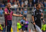 11 August 2018; Galway manager Kevin Walsh appeals a booking to linesman Joe McQuillan during the GAA Football All-Ireland Senior Championship semi-final match between Dublin and Galway at Croke Park in Dublin.  Photo by Brendan Moran/Sportsfile