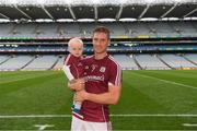 11 August 2018; Gary O'Donnell of Galway with his son Fionn, age 1, after the GAA Football All-Ireland Senior Championship semi-final match between Dublin and Galway at Croke Park in Dublin.  Photo by Piaras Ó Mídheach/Sportsfile