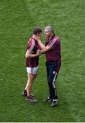 11 August 2018; Galway manager Kevin Walsh consoles Shane Walsh after the GAA Football All-Ireland Senior Championship semi-final match between Dublin and Galway at Croke Park in Dublin. Photo by Daire Brennan/Sportsfile