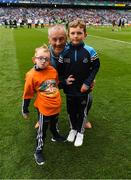11 August 2018; GAA legend and former Dublin goalkeeper John O'Leary who walked onto the pitch with his sons Tom, age 7, and Jack, age 9. Tom presented the ball to the referee, Barry Cassidy, on behalf of the Jack & Jill Children's Foundation at Croke Park in Dublin. Tom, who has a very rare condition, has been supported by Jack & Jill home nursing care and John is a board member and ambassador for the charity. Photo by Ray McManus/Sportsfile