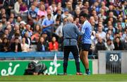 11 August 2018; Cian O'Sullivan of Dublin is treated for an injury before being taken off during the GAA Football All-Ireland Senior Championship semi-final match between Dublin and Galway at Croke Park in Dublin.  Photo by Piaras Ó Mídheach/Sportsfile