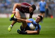 11 August 2018; Niall Scully of Dublin in action against Damien Comer of Galway during the GAA Football All-Ireland Senior Championship semi-final match between Dublin and Galway at Croke Park in Dublin.  Photo by Piaras Ó Mídheach/Sportsfile