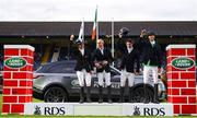 11 August 2018; Riders, from left, Richard Howley of Ireland, Padraic Judge of Ireland, Michael Pender of Ireland and Pedro Junqueira Muylaert of Brazi after winning the Land Rover Puissance during the StenaLine Dublin Horse Show at the RDS Arena in Dublin. Photo by Harry Murphy/Sportsfile