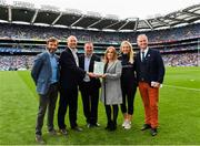 11 August 2018; Croke Park are welcomed into the European Healthy Stadia Network by Matthew Philpott, Executive Director of the European Healthy Stadia Network, who presents the plaque to Peter McKenna, Croke Park Stadium Director and Aoife O'Brien, GAA National Healthy Club Coordinator at the All Ireland Football Semi Finals at Croke Park in Dublin. Pictured, from left, is Colin Regan, GAA Community & Health Manager, Matthew Philpott, Executive Director of the European Healthy Stadia Network, Peter McKenna, Croke Park Stadium Director, Aoife O'Brien, GAA National Healthy Club Coordinator, Stacey Cahill, National Health and Well Being Coordinator, and MC Daithí Ó Sé. Photo by Seb Daly/Sportsfile