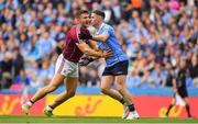11 August 2018; Damien Comer of Galway, left, and Philly McMahon of Dublin during the GAA Football All-Ireland Senior Championship semi-final match between Dublin and Galway at Croke Park in Dublin.  Photo by Brendan Moran/Sportsfile