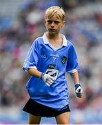 11 August 2018; Liam Barry, St Colmcilles BNS, Kells, Meath, representing Dublin, during the INTO Cumann na mBunscol GAA Respect Exhibition Go Games at the GAA Football All-Ireland Senior Championship Semi Final match between Dublin and Galway at Croke Park in Dublin.  Photo by Brendan Moran/Sportsfile