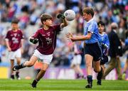 11 August 2018; Dylan Coady, St Mary's NS, Ballygunner, Waterford, representing Galway, in action against Stephen McDowell, St.Michael's College, Ballsbridge, Dublin, during the INTO Cumann na mBunscol GAA Respect Exhibition Go Games at the GAA Football All-Ireland Senior Championship Semi Final match between Dublin and Galway at Croke Park in Dublin.  Photo by Brendan Moran/Sportsfile