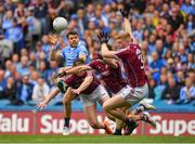 11 August 2018; Kevin McManamon of Dublin has his shot blocked by Galway players Eoghan Kerin, Thomas Flynn and Seán Andy Ó Ceallaigh during the GAA Football All-Ireland Senior Championship semi-final match between Dublin and Galway at Croke Park in Dublin.  Photo by Brendan Moran/Sportsfile