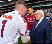 11 August 2018; Galway goalkeeper Ruairí Lavelle is introduced to President Michael D Higgins by Galway captain Damien Comer prior to the GAA Football All-Ireland Senior Championship semi-final match between Dublin and Galway at Croke Park in Dublin.  Photo by Brendan Moran/Sportsfile