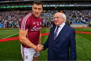 11 August 2018; Galway captain Damien Comer meets President Michael D Higgins prior to the GAA Football All-Ireland Senior Championship semi-final match between Dublin and Galway at Croke Park in Dublin.  Photo by Brendan Moran/Sportsfile