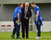 12 August 2018; Cork City manager John Caulfield, centre, with Ollie Cahill of Home Farm, left, formally of Cork City, and Denis O'Sullivan, Chairman of the Senior Team, Home Farm, prior to the Irish Daily Mail FAI Cup First Round match between Home Farm and Cork City at Whitehall Stadium, in Dublin. Photo by Seb Daly/Sportsfile