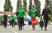 12 August 2018; Cork City players, from left, Aaron Barry, Gearoid Morrissey and Mark McNulty arrive prior to the Irish Daily Mail FAI Cup First Round match between Home Farm and Cork City at Whitehall Stadium, in Dublin. Photo by Seb Daly/Sportsfile