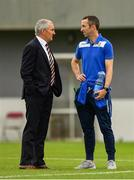 12 August 2018; Cork City manager John Caulfield, left, with Ollie Cahill of Home Farm, left, formally of Cork City, prior to the Irish Daily Mail FAI Cup First Round match between Home Farm and Cork City at Whitehall Stadium, in Dublin. Photo by Seb Daly/Sportsfile