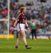 11 August 2018; Nicole McDaid, Scoil Iosagáin, Buncrana, Donegal, representing Galway, during the INTO Cumann na mBunscol GAA Respect Exhibition Go Games at the GAA Football All-Ireland Senior Championship Semi Final match between Dublin and Galway at Croke Park in Dublin. Photo by Ray McManus/Sportsfile