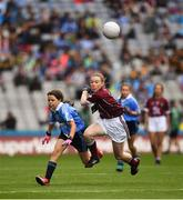11 August 2018; Saoirse Martin, St Mary's PS, Newtownbutler, Fermanagh, representing Dublin, in action against Ellis O'Flaherty, Knockanean NS, Ennis, Clare, representing Galway, during the INTO Cumann na mBunscol GAA Respect Exhibition Go Games at the GAA Football All-Ireland Senior Championship Semi Final match between Dublin and Galway at Croke Park in Dublin. Photo by Ray McManus/Sportsfile