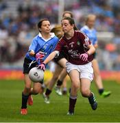 11 August 2018; Saoirse Martin, St Mary's PS, Newtownbutler, Fermanagh, representing Dublin, in action against Muireann Rahilly, Scartaglen NS, Killarney, Kerry, representing Galway, during the INTO Cumann na mBunscol GAA Respect Exhibition Go Games at the GAA Football All-Ireland Senior Championship Semi Final match between Dublin and Galway at Croke Park in Dublin. Photo by Ray McManus/Sportsfile