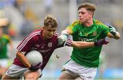 11 August 2018; Daniel Cox of Galway in action against Conor Farrelly of Meath during the Electric Ireland GAA Football All-Ireland Minor Championship semi-final match between Galway and Meath at Croke Park in Dublin. Photo by Brendan Moran/Sportsfile