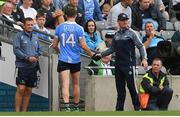 11 August 2018; Dublin manager Jim Gavin shakes hands with Dean Rock as he is taken off during the GAA Football All-Ireland Senior Championship semi-final match between Dublin and Galway at Croke Park in Dublin.  Photo by Piaras Ó Mídheach/Sportsfile