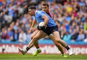 11 August 2018; Philly McMahon of Dublin in action against Damien Comer of Galway during the GAA Football All-Ireland Senior Championship semi-final match between Dublin and Galway at Croke Park in Dublin.  Photo by Brendan Moran/Sportsfile